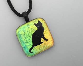 Fused Glass Cat Pendant, Dichroic Jewelry, Cat Lover Jewelry, Fused Glass Necklace, Small Gold and Green Glass Kitty Pendant
