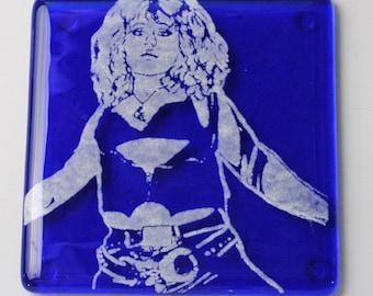 Nancy Spungen Sid and Nancy Punk Rock Fused Glass Coaster
