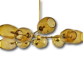 9 Globe Hand Blown Glass Amber Staccato Branch Chandelier Hanging Light Sculpture