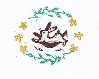 Running Rabbit Hand Printed Greeting Card