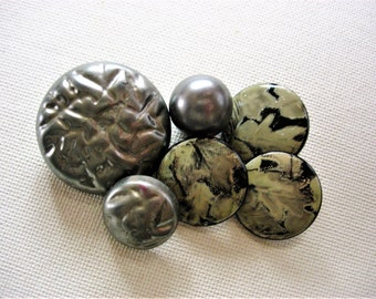 Neat Lot of Various Vintage Gray Fancy Designed Buttons