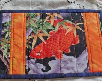 Goldfish fabric mug rug. Fabric snack mat. Candle mat. Mini quilt