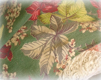 vintage barkcloth curtain panel 1940s barkcloth fabric for reUse green ground leaves and flowers magenta chartreuse and grays