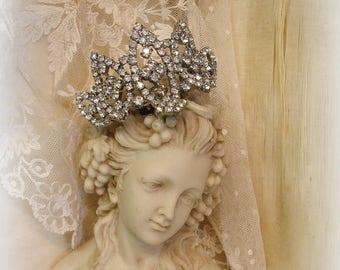 pair vintage rhinestone shoe clips princess bRide crown rhinestone shoe clips wedding special occasion signed MUSI mid century beauties