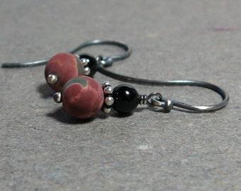 Red Creek Jasper, Black Onyx Earrings Oxidized Sterling Silver Earthy Gift for Her