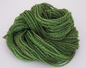Hand spun 2ply DK weight BFL Jane of the Jungle green 50+ yds