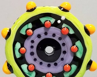 Zuma Wheelie--Handmade Lampwork Glass Bead Disc