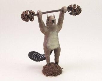 Spun Cotton Vintage Style Woodland Circus Strongman Beaver Figure