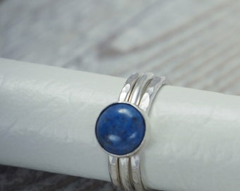 Silver Stacking Rings with Gemstone, Set of 3 Stacking Rings