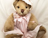 Precious Altered Teddy Bear with Vintage Pink Doll Dress, Vintage Millinery and Antique Baby Bonnet