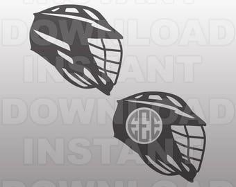 Lacrosse Helmet SVG File,Lacrosse SVG,Lacrosse Monogram -Personal & Commercial Use- cricut svg,silhouette svg,svg cut,vinyl files,tshirt svg