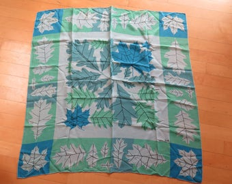 Vintage 50s Vera Neumann Large Square Silk Leaves Leaf Print Scarf