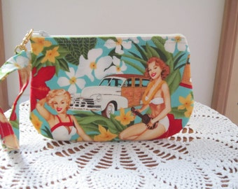 Clutch Wristlet Zipper Gadget Pouch Smart Phone Bag Retro Pinups