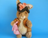 Vintage Benjamin Bunny Stuffed Animal Toy by Eden Toys Beatrix Potter Peter Rabbit 1990s Green Tam O'shanter Plush