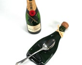 Mini Champagne Bottle Flat Spoon Rest with Cork and Raffia - Recycled Eco-Friendly