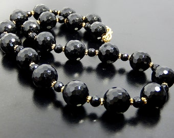 Black Onyx Necklace, Statement Necklace, Gemstone Beaded Jewelry, Gold Vermeil