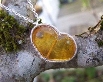 Dominican Amber Heart  sterling silver coil wrap, cable chain necklace