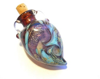 Purple & aqua blown glass bottle necklace, aromatherapy or cremains wearable handmade lamp work glass bead vessel, amphora pendant jewelry
