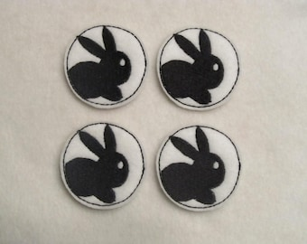 4 Felt Bunny Silhouette Applique embellishments Style FAT