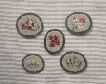 embroidered botanical pins