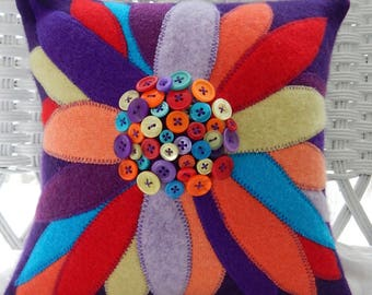Recycled Cashmere Sweater Large Flower Pillow with Buttons for Center - Turquoise, Green, Red, Orange and Purple