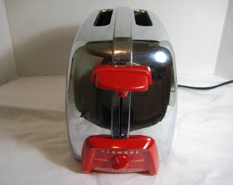 Vintage Red and Chrome Kenmore Toaster Excellent Shinny and Working