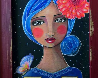 The Darkest Nights Produce the Brightest Stars / Mixed Media / Print / Art for a Girl's Room /