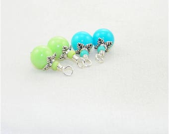 Green and turquoise handmade beaded dangle drop charms, Hand wrapped beads for earrings, Dangle charms, Pendants, Zipper pulls, Bride, Gift