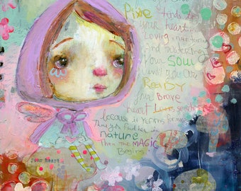 Magical Heart Pixie - mixed media art print by Mindy Lacefield