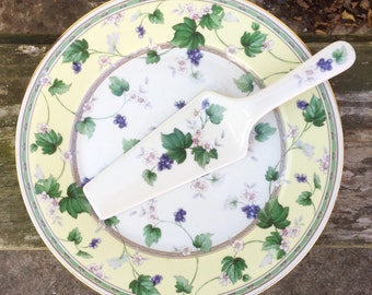 Andrea by Sadek Floral Cake Plate with Server Grapevine Pattern Vintage