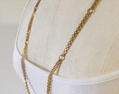 Long Vintage Monet Chain Necklace, Linked Double Chain Necklace, Gold Tone Monet Chain Necklace, Vintage. Monet Jewelry