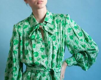 GALANOS pleated silk secretary dress / 70s designer dress / ascot bow dress / s / 1667d / B7