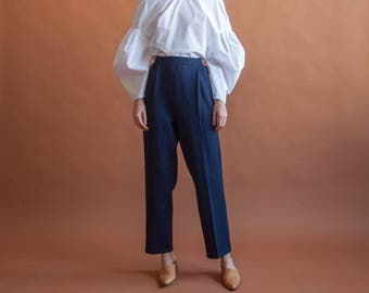 70s navy blue knit wool pants / navy blue easy fit lounge pants / m / 30 W / 2317t / B9