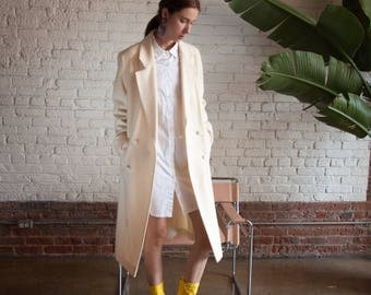 cream wool double breasted coat / long winter structured coat / vtg 80s oversized coat / s / 2202o / R3