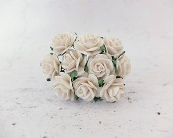 20mm off white mulberry roses with wire stems - 10 pcs