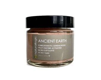 ANCIENT EARTH Micro Exfoliate. Polish. Facial Scrub. Face Scrub. Normal, Sensitive, Oily, Acne, Aging. Natural Organic Skin Care. Vegan.