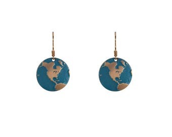 Gold and aqua earth earrings