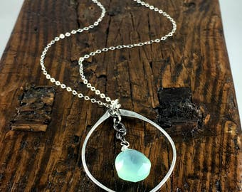 Sterling Silver Necklace with Leaf Shaped Pendant and Aqua Chalcedony Gemstone / Summer Jewelry / Hammered Metal / Gift