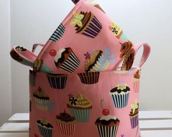 READY TO SHIP - Set of 2 - Storage Organization Fabric Organizer Containers Bins Baskets - Cupcakes on Pink Fabric