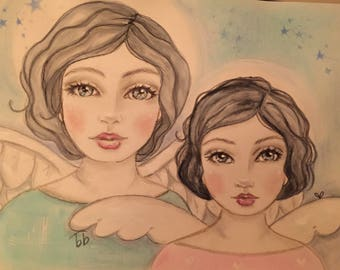 Mother/Daughter Angels or Best Friends Angels 9 x 12