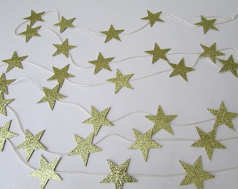 Gold Glitter Star Garland Christmas Tree Decor 8'