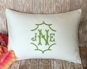 Pagoda font Chinoiserie Monogram Pillow Cover. Made to fit a 12x16 Decorative Throw Pillow. Wedding. Graduation. Baby. Dorm
