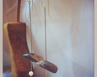 Extra long brass chain with Walnut and quartz drop earrings