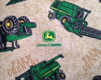 John Deere farm country fabric flannel tractors brown background cotton fat quarter country farm tractor toss print