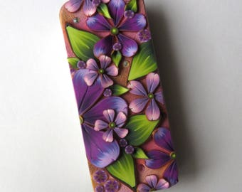 Purple Flower Garden Slide Top Tin, Sewing Needle Magnetic Pin Box ,Polymer Clay Covered Tin, Magnetic Needle Case