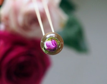 Medium Gold Rose Necklace,Pink Rose Pendant with Gold Plated Sterling Silver Chain, Floral Necklace, Resin Necklace
