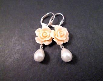 Pearl Earrings, White Glass Pearls and Peach Rose Earrings, Silver Dangle Earrings, FREE Shipping U.S.