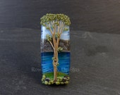 Tree and Mountains Across Loch Linnhe - Handmade Lampwork Glass Focal Bead - Rowanberry SRA