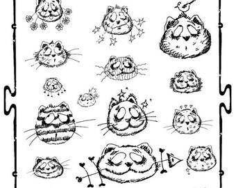 ON SALE DIY Digital sheet  Cats Gatti Illustration-Download and print-300 Dpi-007