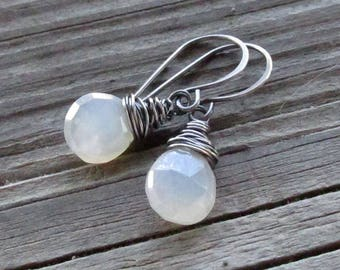 Pearl Chalcedony Earrings, Oxidized Sterling Silver Wire Wrap, Handmade Earwires - Mystic Pearl Heart Gemstone Briolettes